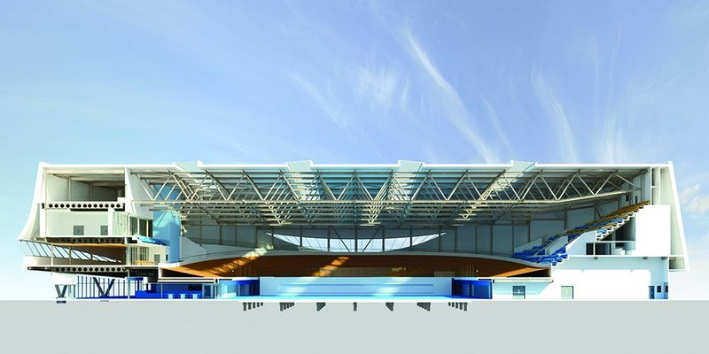 Section showing the 85m span roof trusses above the elevated cycle track.