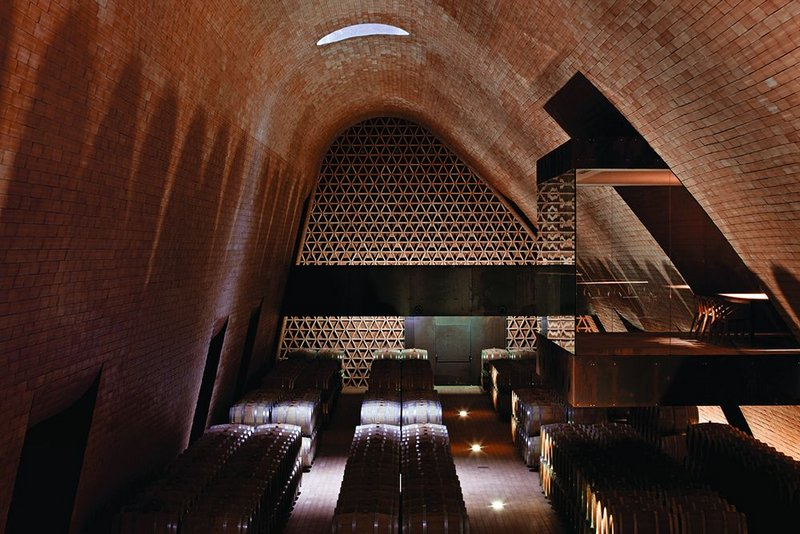 Terracotta-lined cellars  are overlooked by tasting rooms.