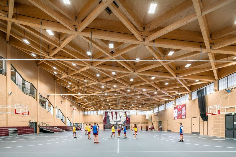 LED-lit glass sprung sports hall floor aids accessibility.