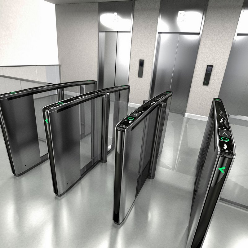 Boon Edam's Lifeline Speedlane Swing security gates manage and channel the flow of people entering and moving around a building.