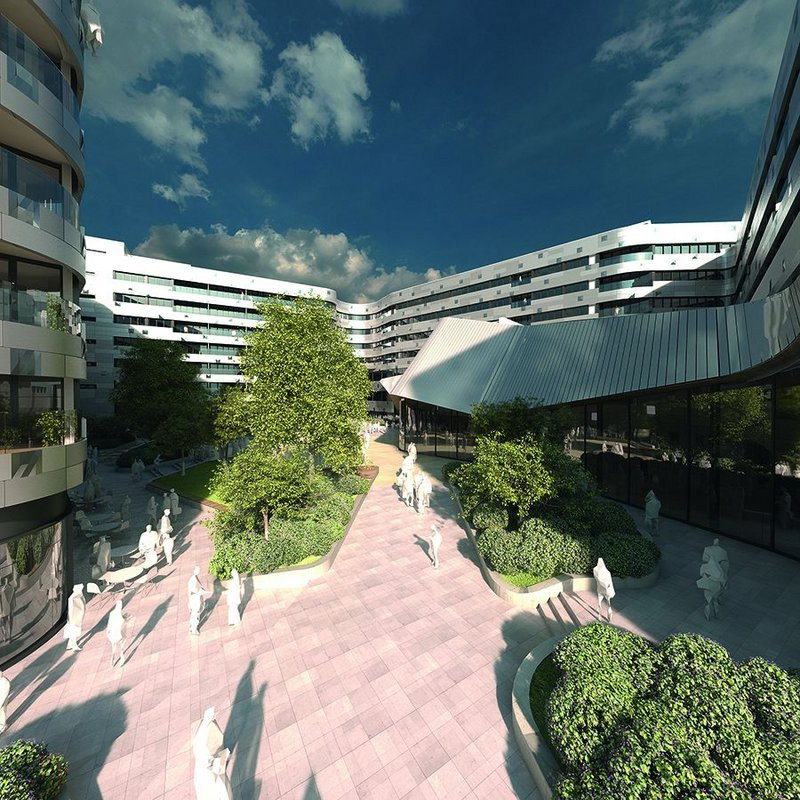 Architect Make's mixed-use Greenwich Square development for client Hadley Mace, a £225m regeneration scheme on the former Greenwich District Hospital site, will provide 645 new homes, 50% of which will be affordable