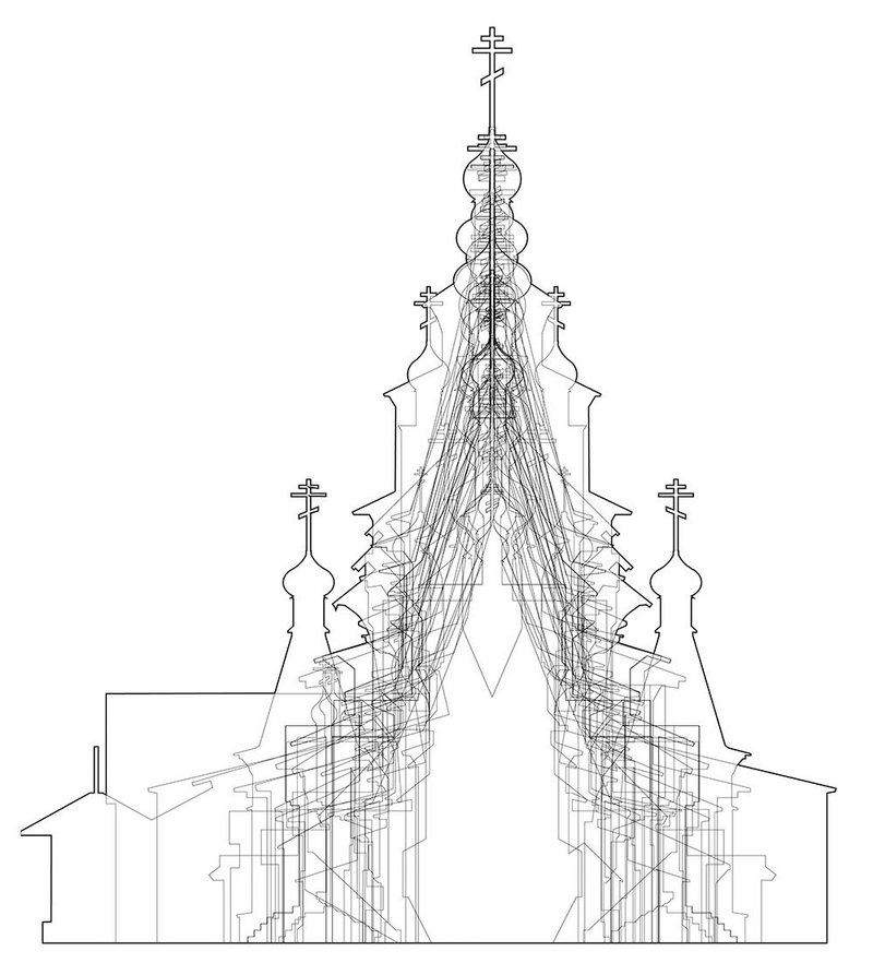Typological study of abandoned churches – sectional overlay used as a form finder to help determine the type of enclosure needed during restoration.