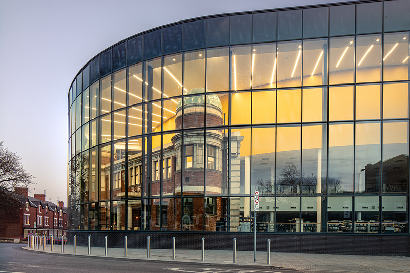 The Danum Gallery, Library and Museum features Senior's SF52 curtain wall system, which envelopes the restored facade of the former Doncaster High School for Girls.