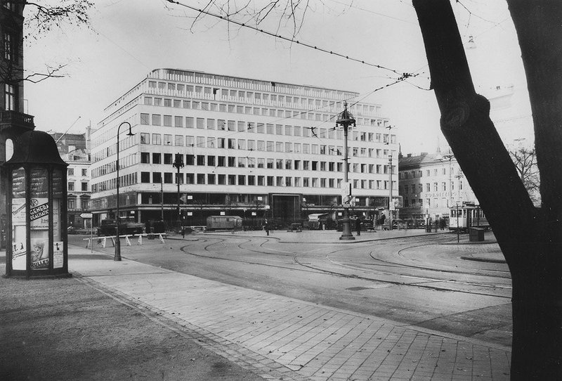 View across the square to six storey office and hotel block Citypalatset, Norrmalstorg.