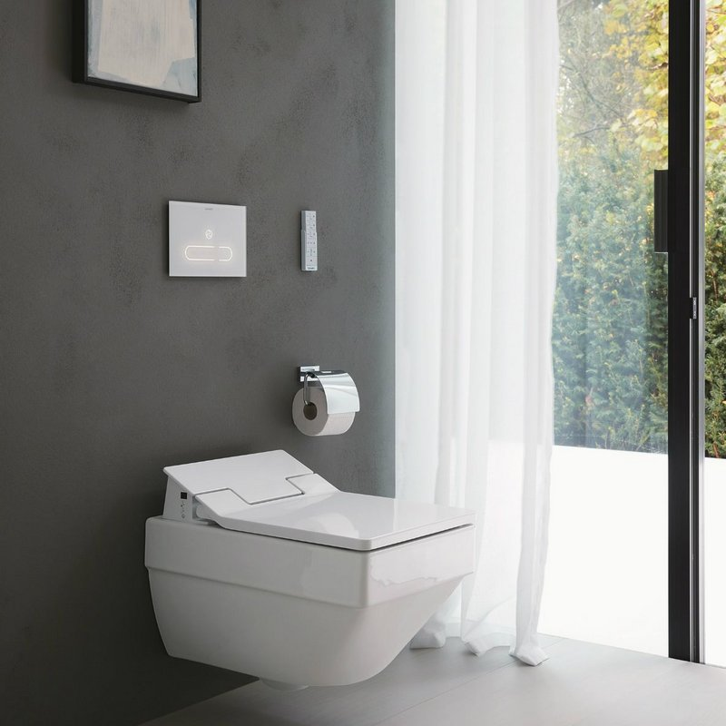 Vero Air wall-mounted toilet with SensoWash Slim shower-toilet seat and A2 sensor plate.