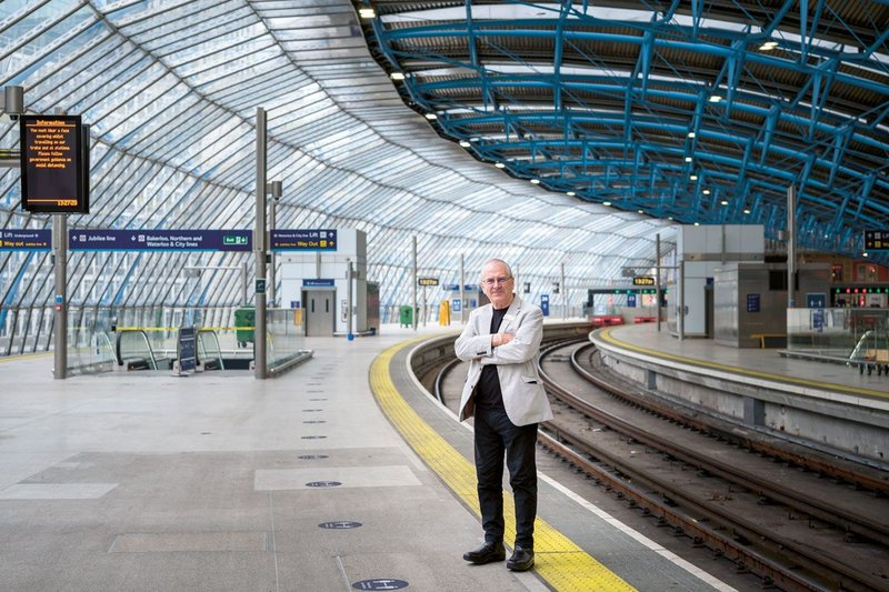 Hendy at the office – Grimshaw's former Waterloo International Terminal. He is overseeing a design renaissance on Network Rail.