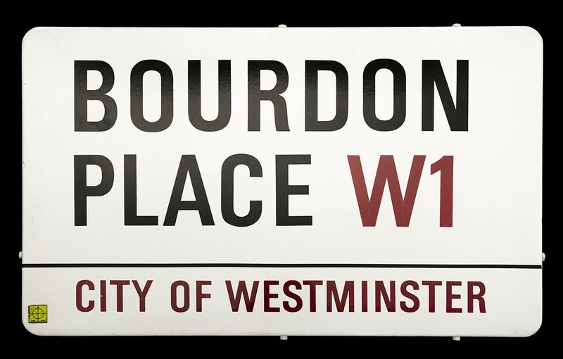 Bourdon Place street sign for the City of Westminster designed by Misha Black.