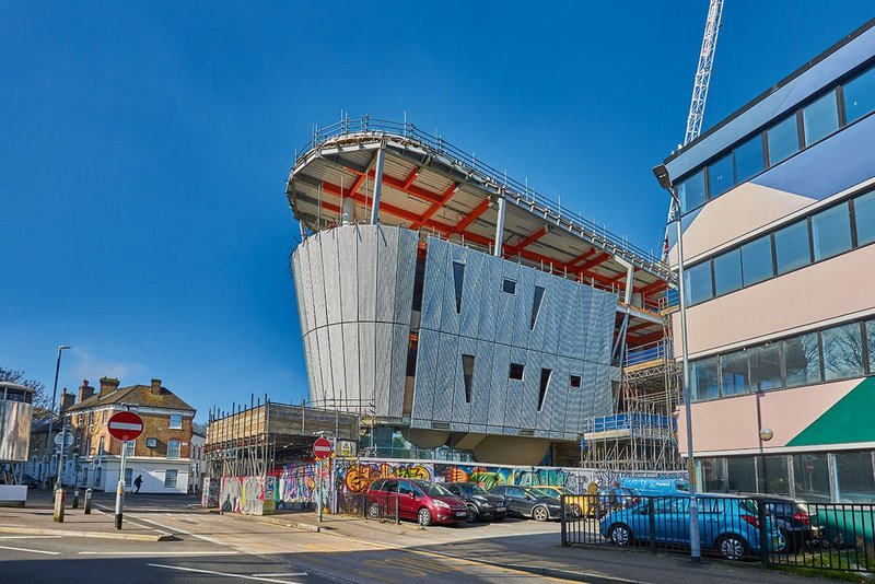 Guy Hollaway Architects' F51 in Folkestone is the world's first multi-storey skate park, which also contains a boulder room and climbing wall, a boxing gym, café and changing rooms. It is due to complete later this year.
