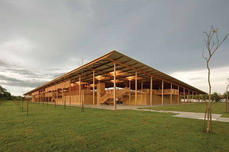 Local sundried bricks and CNC cut timber were used on the Children's Village by Rosenbaum and Aleph Zero.