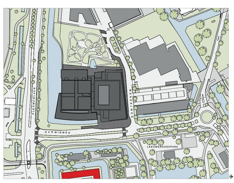 The site plan of the building shows the position of the Pesthuis ( in red) – formerly the main entrance to the old complex.