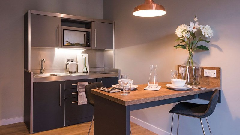 Elfin's Premium Bespoke kitchen and Studioline system provides a complete kitchen solution that is compact, sleek and simple to install.