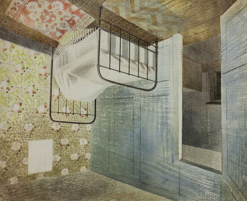 Eric Ravilious, The Bedstead, 1939 (inverted). The watercolour was the starting point for Becky Beasley's OUS installation, 2017, at the Towner Art Gallery, Eastbourne.