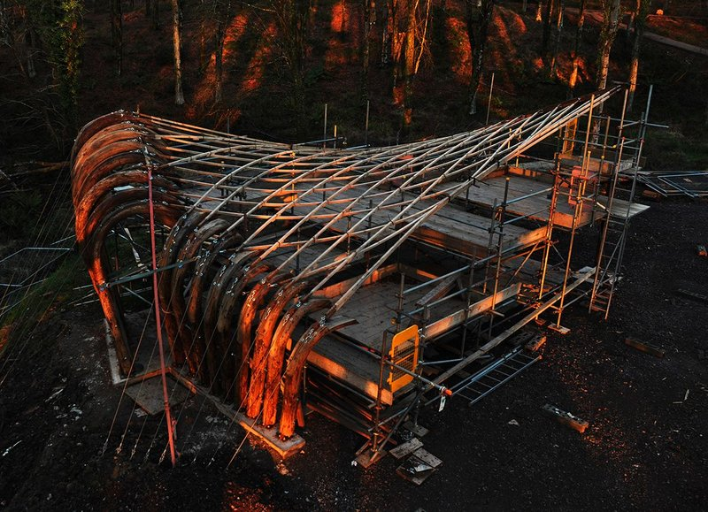 The Sawmill Shelter roof takes shape.