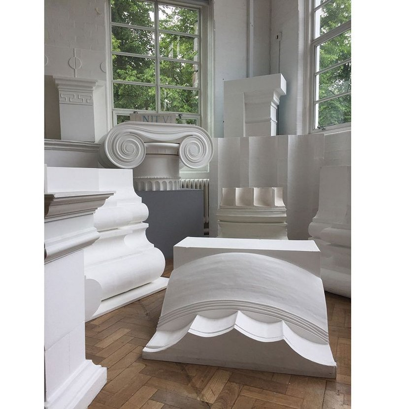 Fragments of classical architecture as made by Timothy Smith & Jonathan Taylor's design studio at Kingston University.