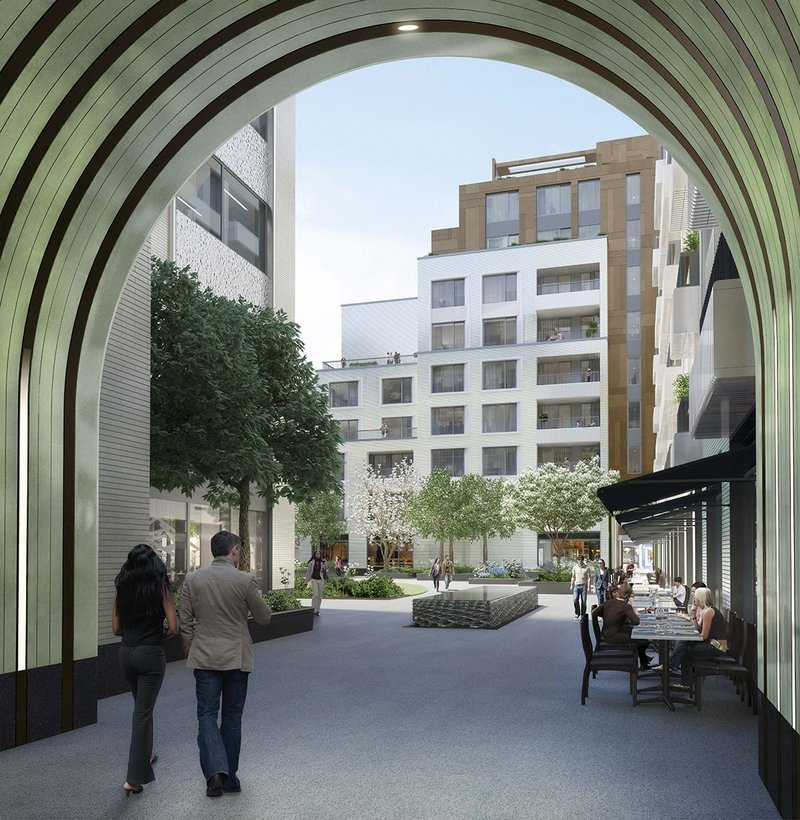 Visualisation of the entrance to Rathbone Square. Make Architects