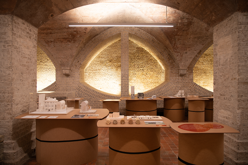 Installation view of Congregation, an exhibition on the changing nature of faith buildings at St Mary Magdalene in Paddington. The undercroft location is part of an extension by Dow Jones Architects.