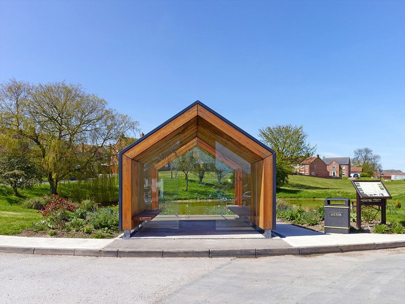 Bus stop and walkers' shelter in Fridaythorpe, the first MassBespoke prototype.