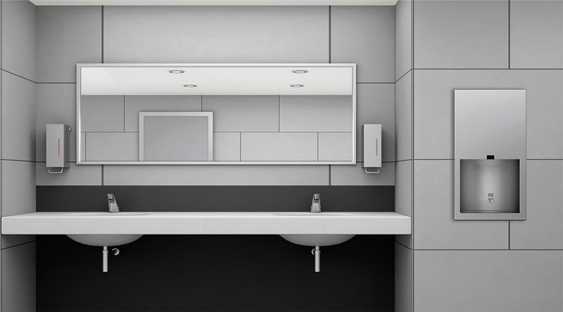 Washroom with Bobrick's TrimLineSeries hygiene products