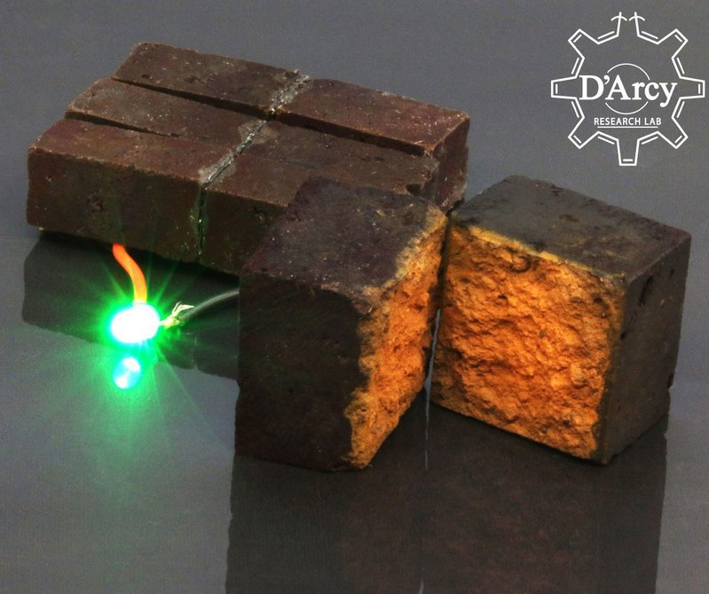 A brick supercapacitor powering an LED light.