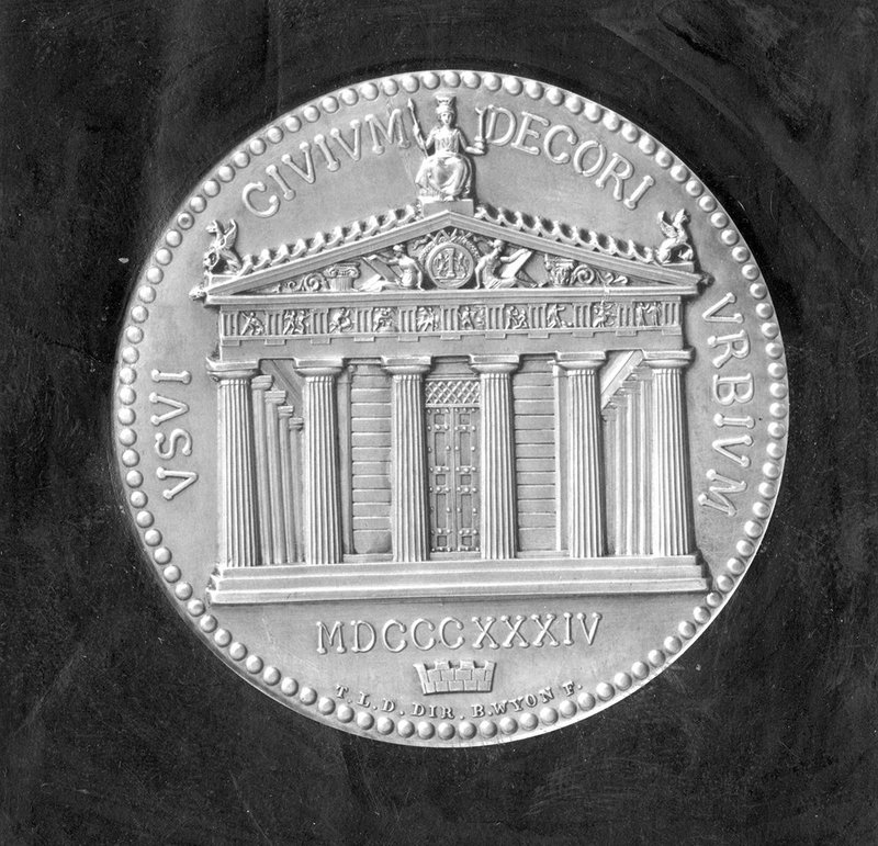 The Honorary Medal of the Royal Institute of British Architects (1836) designed by Thomas Leverton Donaldson and Benjamin Wyon.