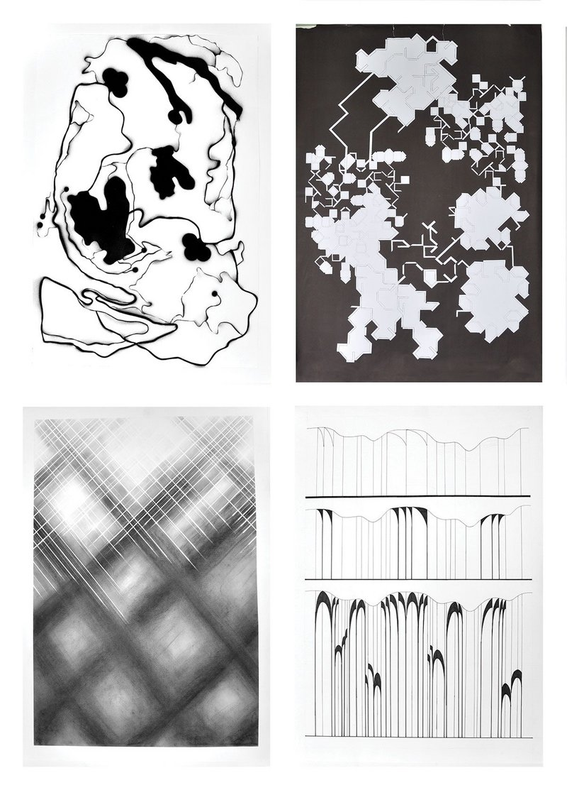 Day 2: Examples of individual drawings produced in response to the score at UQAM, Montreal. Clockwise: drawings by William Couture, Marine Cance, Clara Letourneux, Liza St-Germain.