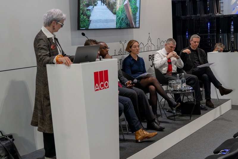 The panellists debate 'A future for our town centres' at FutureBuild 2019. Visible from left: Sarah Weir, Ojay McDonald, Sadie Morgan, Michael Keith and John Prevc.