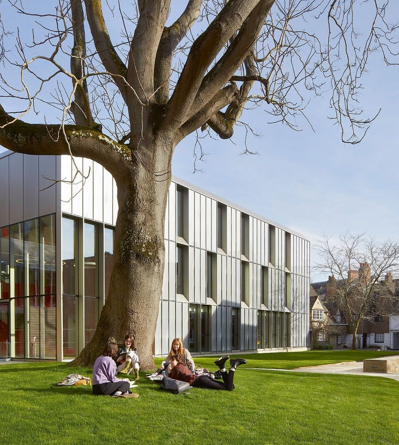 The facade of the outreach centre – seen here with tree of heaven in the foreground – is all about reaching up.