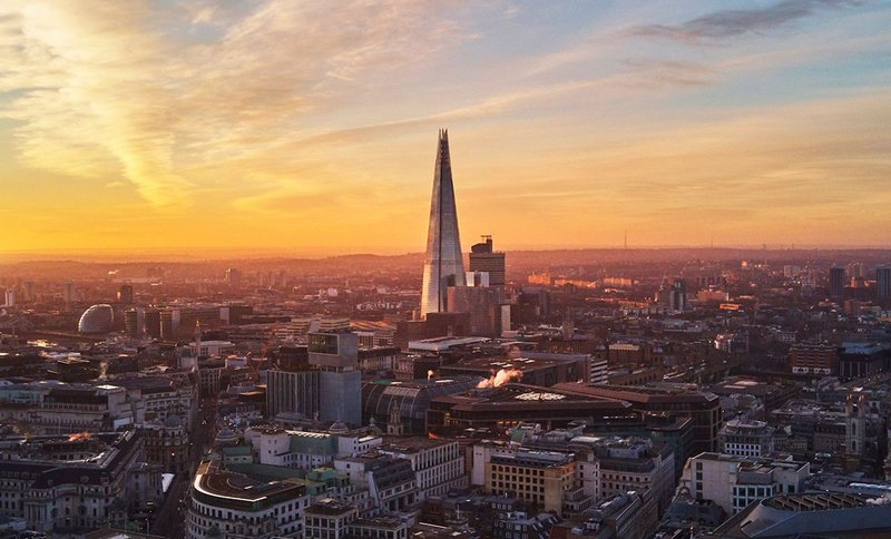 View to the Shard at sunrise.