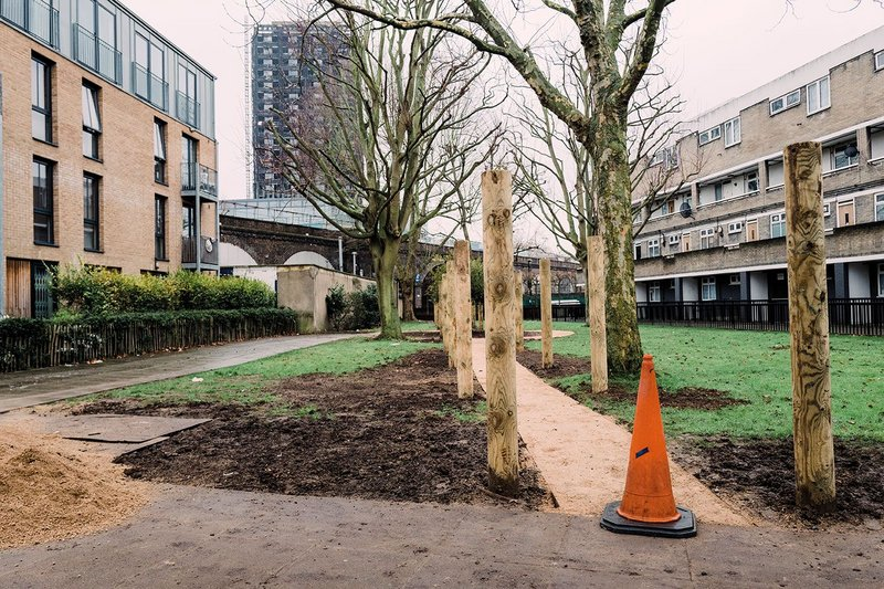 The Olive Branch Charity's sensory garden under construction opposite Grenfell Tower.