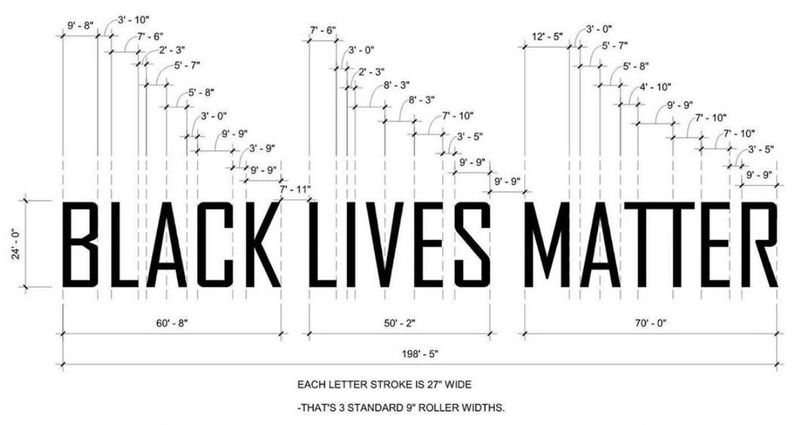 "Architect Yes Duffy created a free to share ""Black Lives Matter"" paint template, showing how to replicate the famous Black Lives Matter Plaza street mural from Washington D.C. Duffy Architects (Instagram: @yesarchitects)"