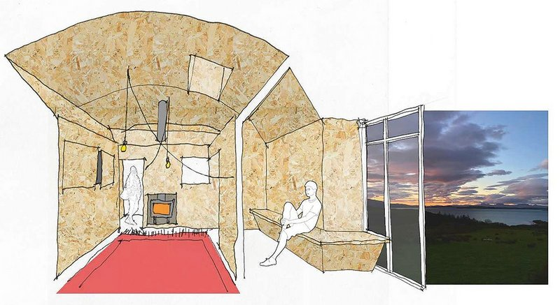 An OSB structure of peripheral rooms cocoons Kirkton Steadings' central common space.