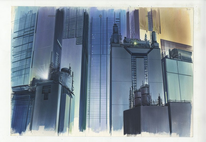 Background illustration for Ghost in the Shell cut 311 by Hiromasa Ogura.