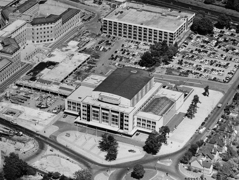 Fairfield Halls in 1962 with the car park deck, on which College Green sits, going up alongside.