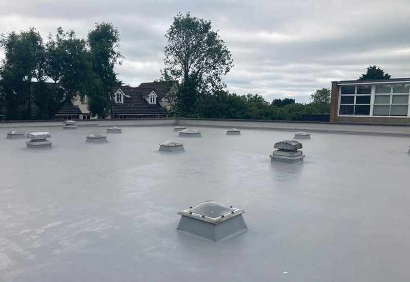 Mapei Purtop Easy - a coloured, waterproof polyurethane resin for roofs, balconies and terraces - recently installed at a school in Hertfordshire.