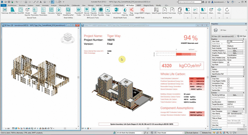Screenshot of H\B:ERT being used in Revit, showing the mixed-use project Tiger Way as an example.