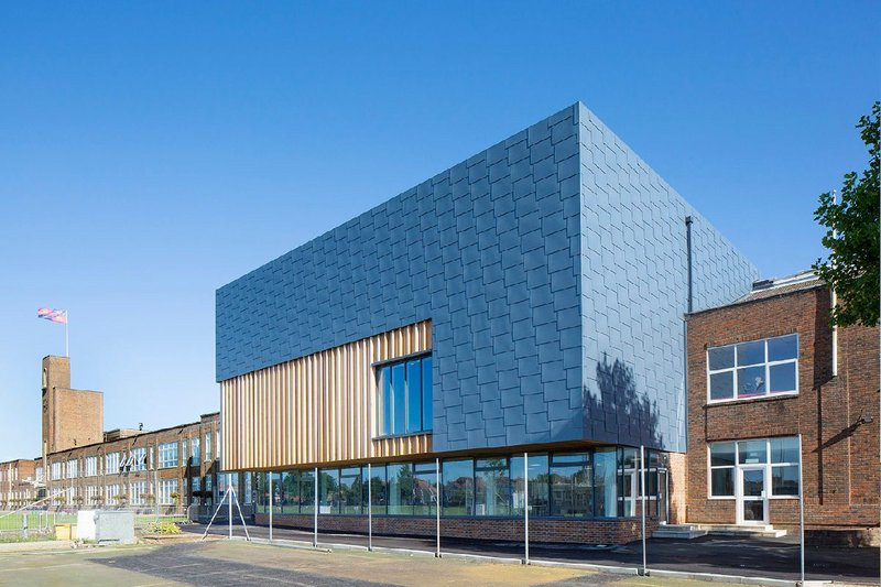Pigmento Blue Flat Lock panels at King Edward VI School, Southampton.