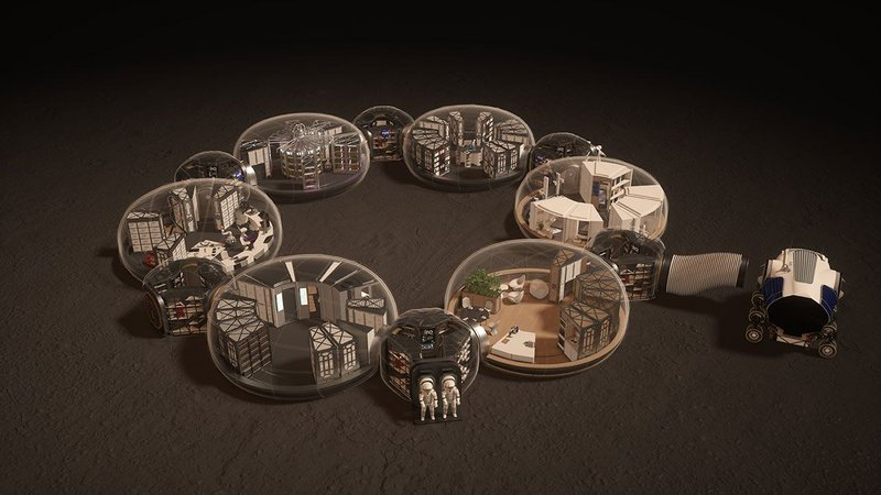 The proposed base would include six pods for astronauts to live and work in.
