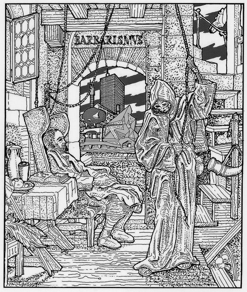 Curl's depiction of himself as author driven to death by the task of warning the world against the destructive powers of architectural barbarism. Drawing on Alfred Rethel's Death as a Friend.