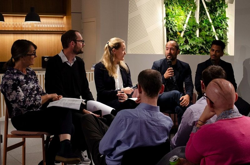 The panel (from left): Kay Hughes, Founder, Khaa; Ed Parham, Director, Space Syntax; Kate Hall, Design Director, HS2; Donald Roberts, Senior Landscape Architect, Assael Exteriors; Hari Phillips, Partner, Bell Phillips Architects. Space in Architecture series, Knauf Clerkenwell.