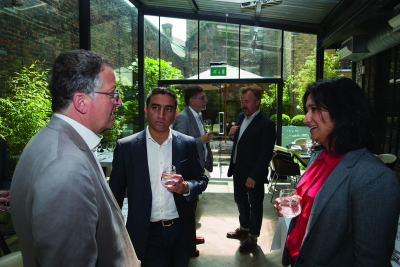 The panel chew the cud of  sustainable futures beside the 'green wall'  at Clerkenwell's Portal restaurant.