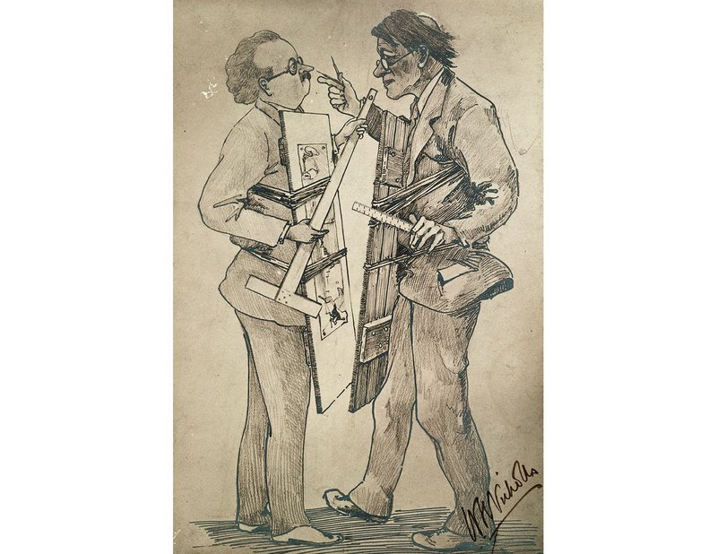 By 1913 Lutyens and Baker were already fighting, as this caricature by a colleague shows.