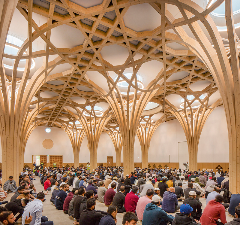 Prayer Hall at the at Cambridge Mosque, designed by Marks Barfield Architects.