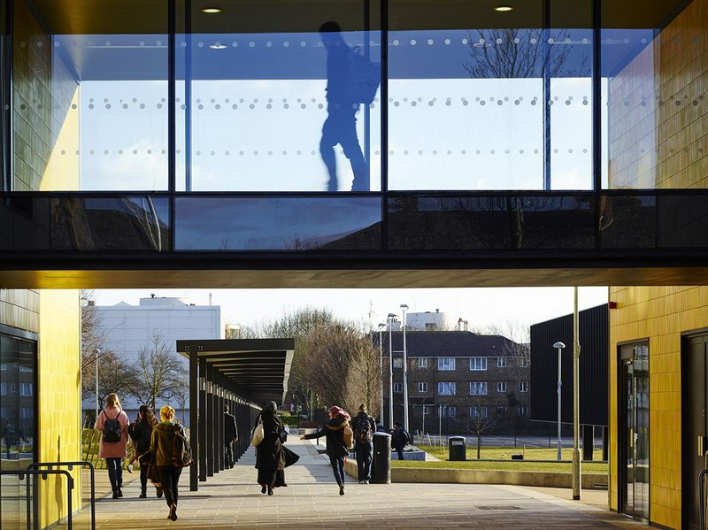 Bridge over the entrance to the separate sixth form block.