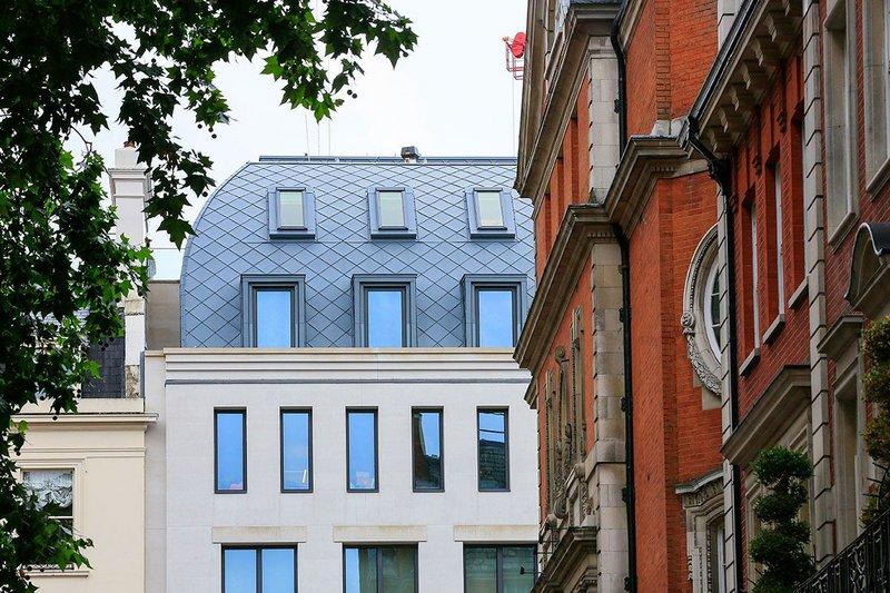 Pigmento Blue Plus zinc shingle roof at Brook Street office development, London, by PLP Architecture.