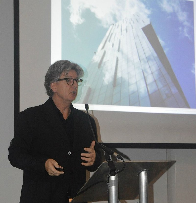 Simpson speaking in the hotel that is located, like his home, in his Beetham Tower.