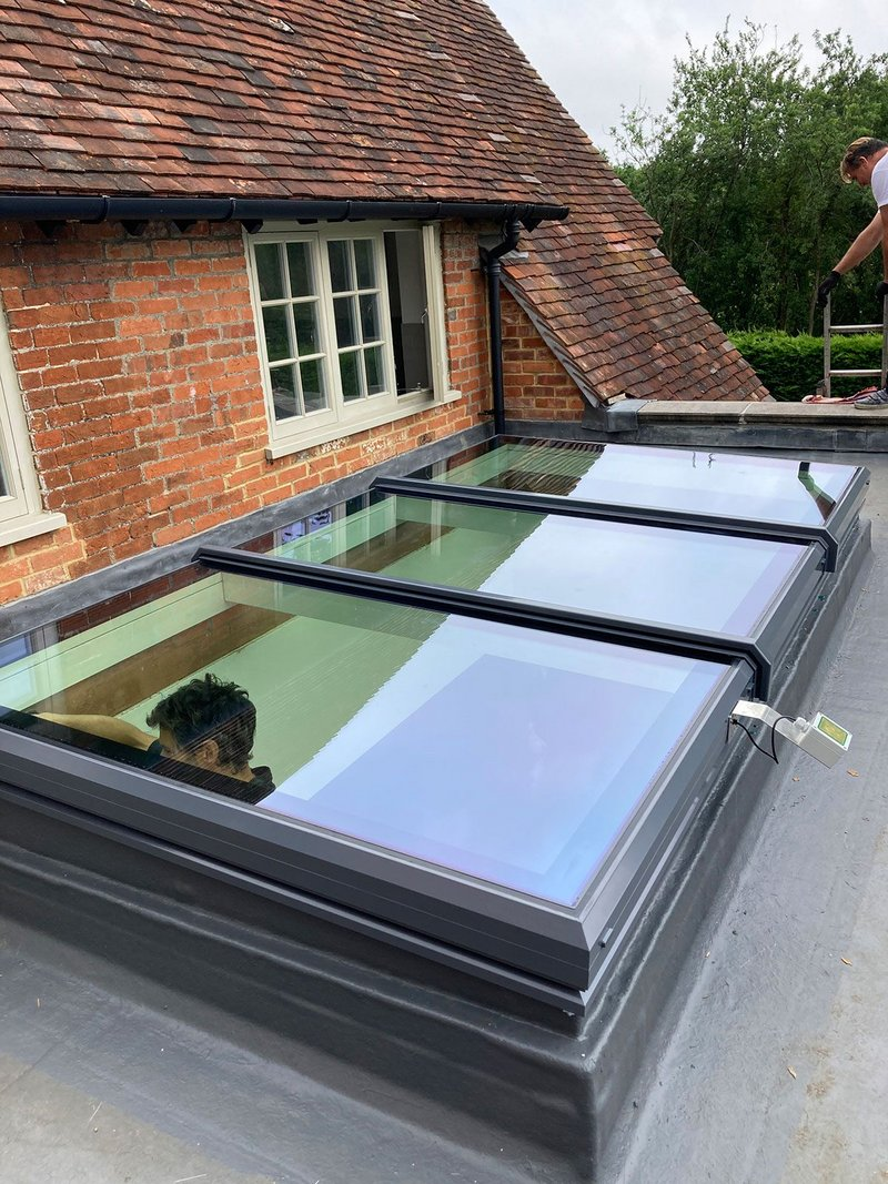 The new Sunsquare skylight has an opening section (here in the centre) that sits level with the rest of the window, providing a uniform look.
