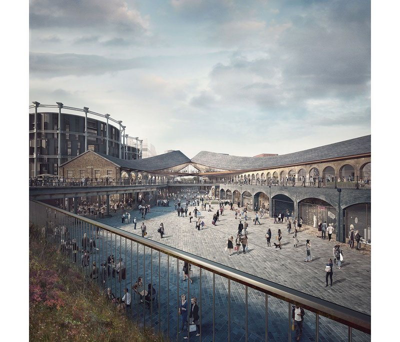 Visualisation of the completed development showing the 'kissing roofs'.