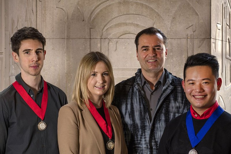Student Medallists - Wilkie, Price and Boon - with Patrik Schumacher of Zaha Hadid Architects.