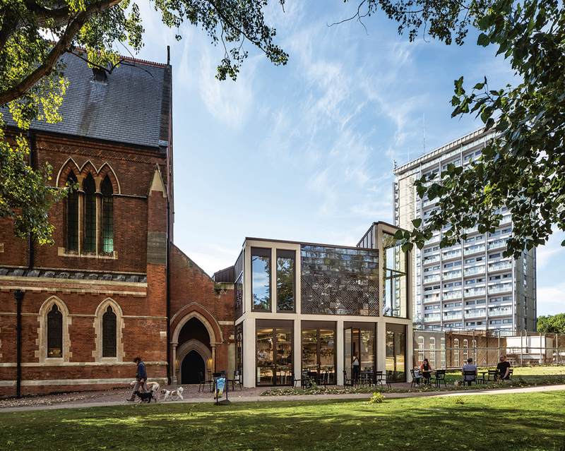 Dow Jones's St Mary Magdalene's, Paddington. The extension has a café, education room, offices and access to a new performance space in the undercroft.  Left Matthew Lloyd's Shoreditch Tabernacle Baptist Church rebuilt worship space with 35 apartments.