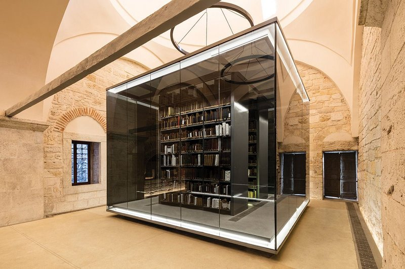 Dedicated glass vitrines provide optimal storage conditions for rare books and manuscripts